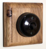 Square Single Oak Pattress with 1/2 Way Bakelite Dolly Switch
