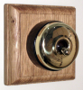Square Single Oak Pattress with Plain Brass Black Ceramic Dolly Switch