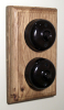 Double Oak Pattress with 1/2 Way Bakelite Dolly Switches