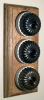 Triple Oak Pattress with Ribbed Antique Brass Ivory Ceramic Dolly Switches