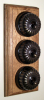 Triple Oak Pattress with Ribbed Antique Brass Black Ceramic Dolly Switches