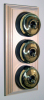 Triple Pine Pattress with Plain Brass Black Ceramic Dolly Switches