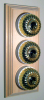 Triple Pine Pattress with Ribbed Brass Ivory Ceramic Dolly Switches