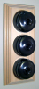 Triple Pine Pattress with Plain Antique Brass Black Ceramic Dolly Switches