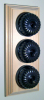 Triple Pine Pattress with Ribbed Antique Brass Black Ceramic Dolly Switches