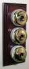 Triple Mahogany Pattress with Plain Brass Ivory Ceramic Dolly Switches
