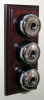 Triple Mahogany Pattress with Plain Chrome Black Ceramic Dolly Switches