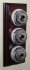 Triple Mahogany Pattress with Ribbed Chrome Ivory Ceramic Dolly Switches