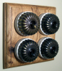 Quadruple Oak Pattress with Ribbed Antique Brass Ivory Ceramic Dolly Switches