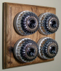 Quadruple Oak Pattress with Ribbed Chrome Ivory Ceramic Dolly Switches