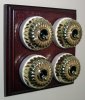 Quadruple Mahogany Pattress with Ribbed Brass Ivory Ceramic Dolly Switches